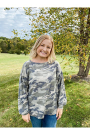 Kelly army green camo balloon sleeve top boho pretty boutique fall womens clothing