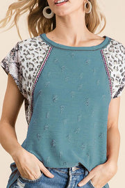 Teal Blue Knit Top Block Sleeves
