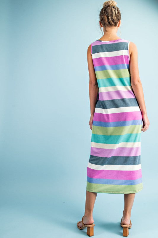 Sleeveless Summer Dress with Stripes