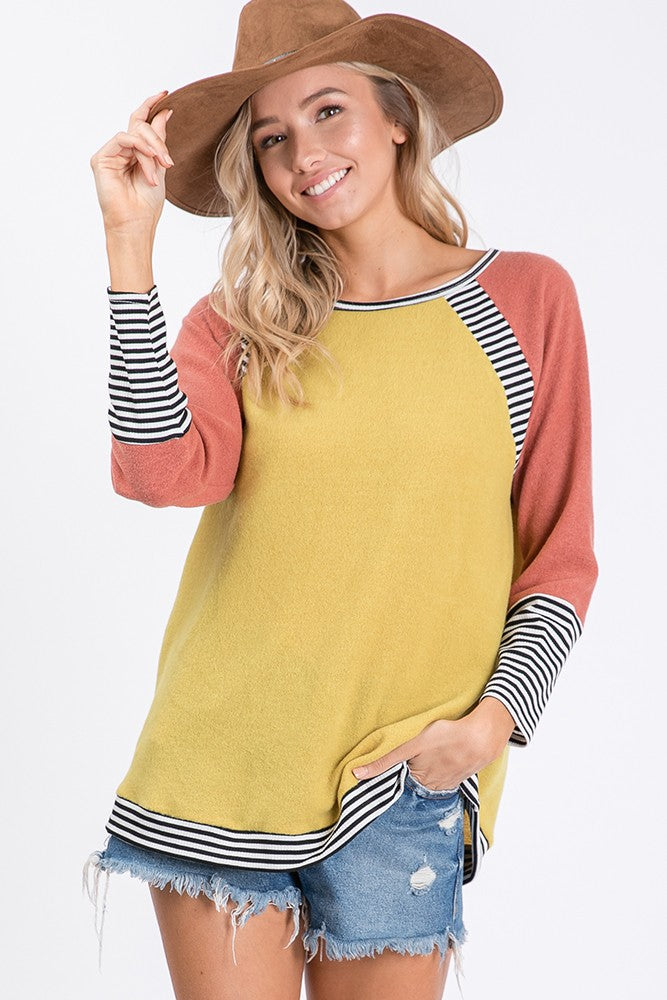 Knit Color Bloc Raglan Top Long Sleeve Round Neck Boutique boho pretty
