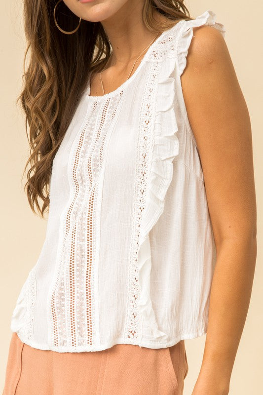 Lace Insert Ruffle Blouse   100% Contrast  100% Polyester hem and thread boho pretty boutique