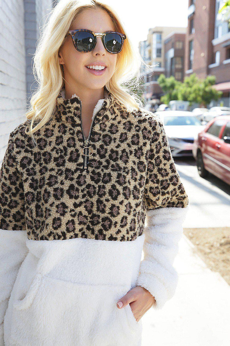 LEOPARD CONTRAST  FAUX FUR PULLOVER JACKET WITH POCKET boho pretty boutique