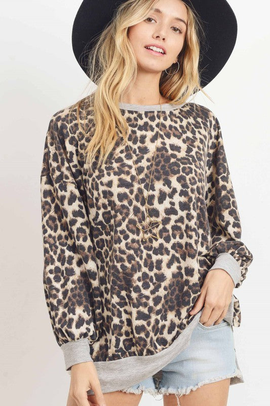 Leopard French Terry Top With A Round Neckline, Balloon Sleeves.