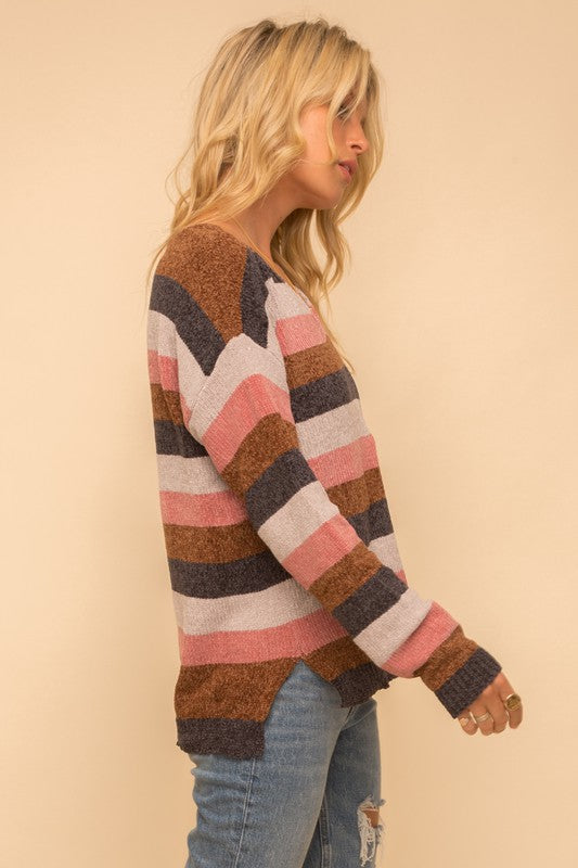 LIGHTWEIGHT CHENILLE V-NECK STRIPE SWEATERboho pretty boutique online womens fall clothing