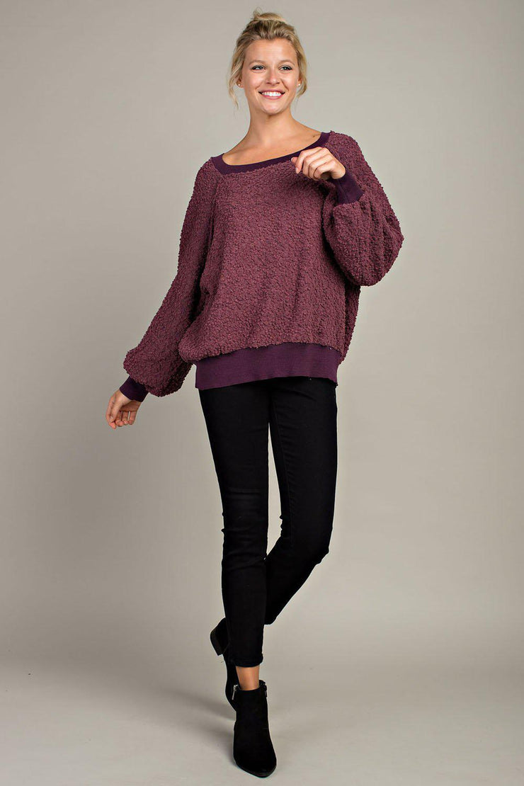 This pullover is so comfy and trendy! It's a wide neck and features long sleeves. We are in love with it!! Be sure to grab this one before it's gone!