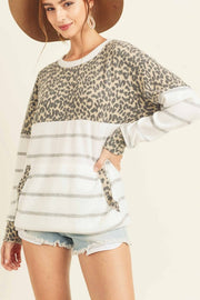 Leopard Striped cashmere brushed top with a round neckline dropped shoulders boho pretty boutique