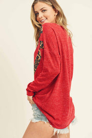 Leopard Contrast, Chevron Cut Top With A Round Neckline.   Two Different Everyday Colors or Pick The Red For Valentines Day!