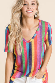 bibi MULTI COLOR VERTICAL STRIPE LOW GAUGE HACCI PRINT DEEP U NECK TOP boho pretty boutique