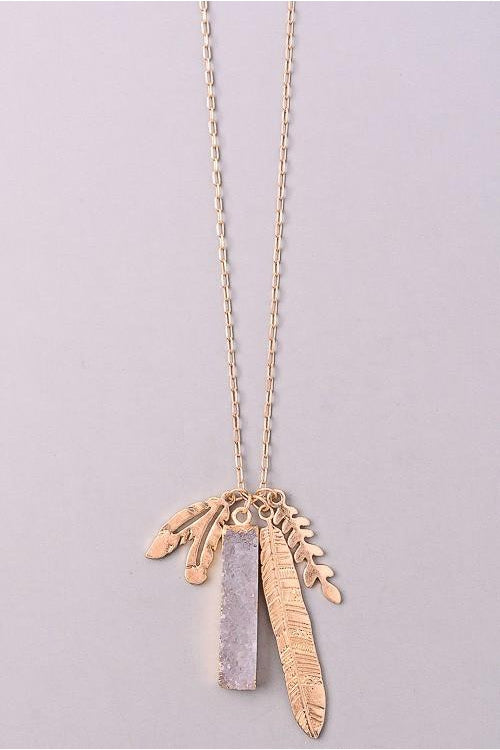 Feathers and Stone Necklace