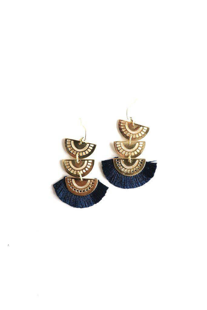 Tiered Navy Tassel Earring