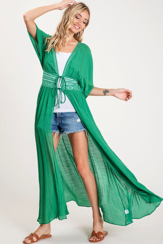 OPEN FRONT DUSTER LENGTH COVER UP boutique boho pretty bibi