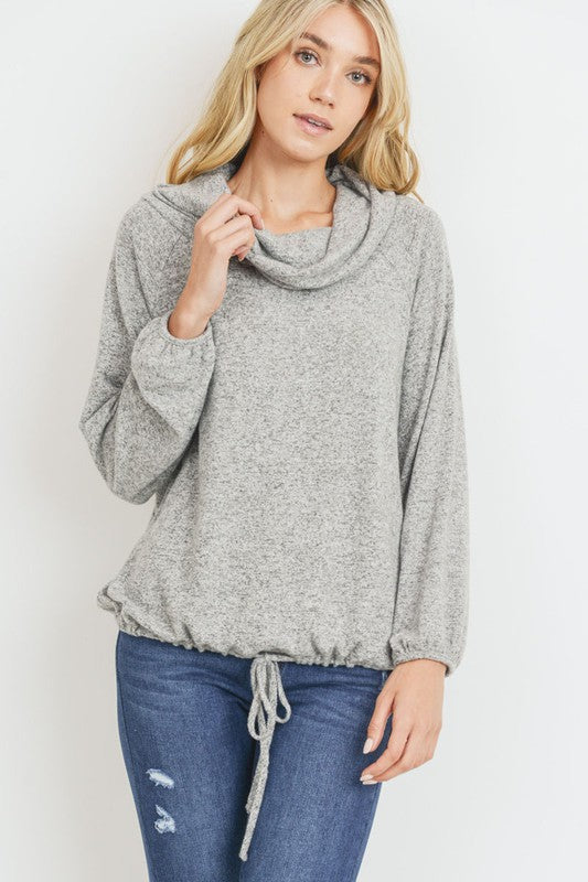 Cowl Neck Balloon Sleeve Pullover Fall Fashion Womens Clothing Boho Pretty Boutique Online Shop