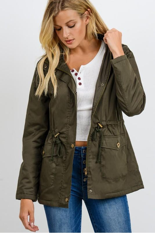 Olive Anorak Jacket With Fur Lining Boho Pretty Boutique Online Womens Fall Clothing4