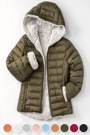 CLAY Sherpa Fleece Lined Jacket with hood boho pretty boutique online fall winter women clothing