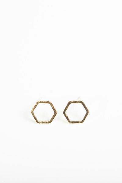 Gold Hexagon Stud Earrings, Bohho Pretty, Bohemian, Boho Style
