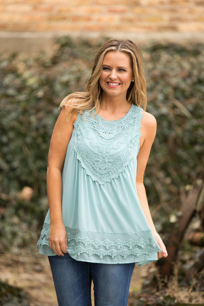 Perfectly Pretty Tank, Mint, Boho, Boho Pretty