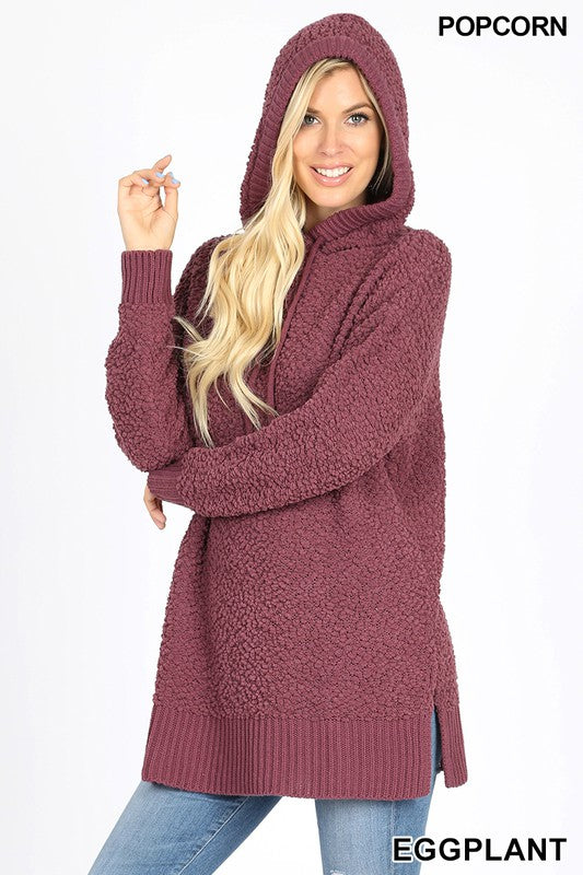 Hooded Popcorn Sweater