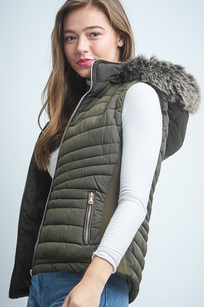 Puffy Vest With Removable Hood.