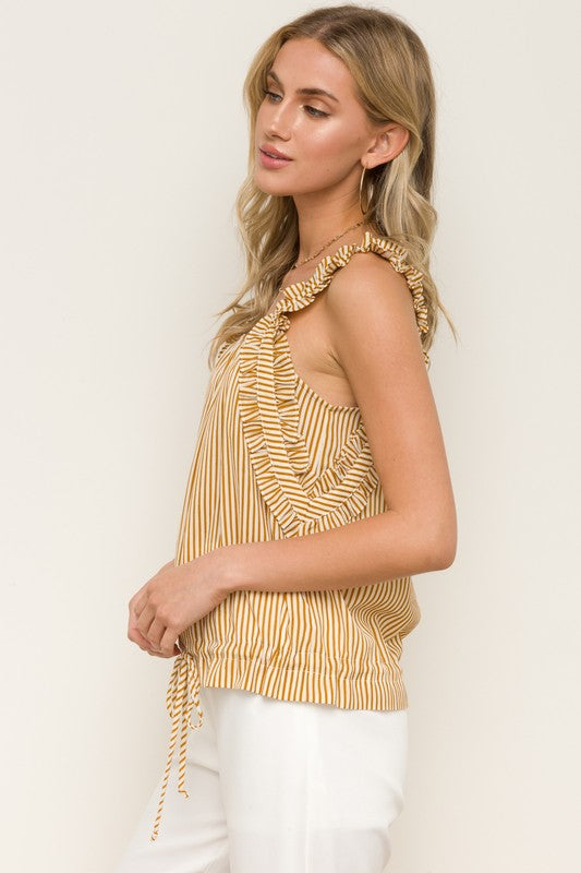 RUFFLE STRAP CINCHED WAIST CROP TOP - 100% RAYON. boho pretty boutique hem and thread