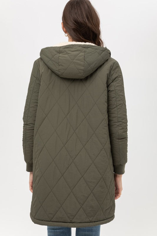 Reversible, Contrast, Fleece Lined, Quilted, Olive, Hooded Coat, Boho Pretty,