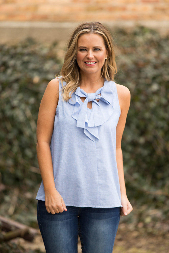 Ruffle, Bow, Top, Boho Pretty, Preppy, Women's Fashion