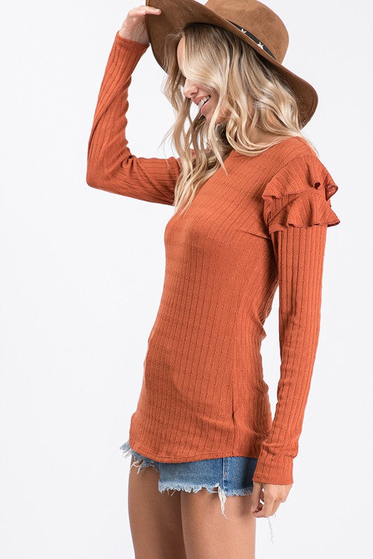 Rust and Ruffles Top