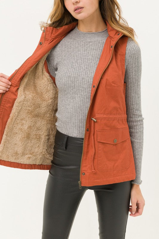 Rust faux fur lined anorak vest boho pretty online womens fall boutique clothing