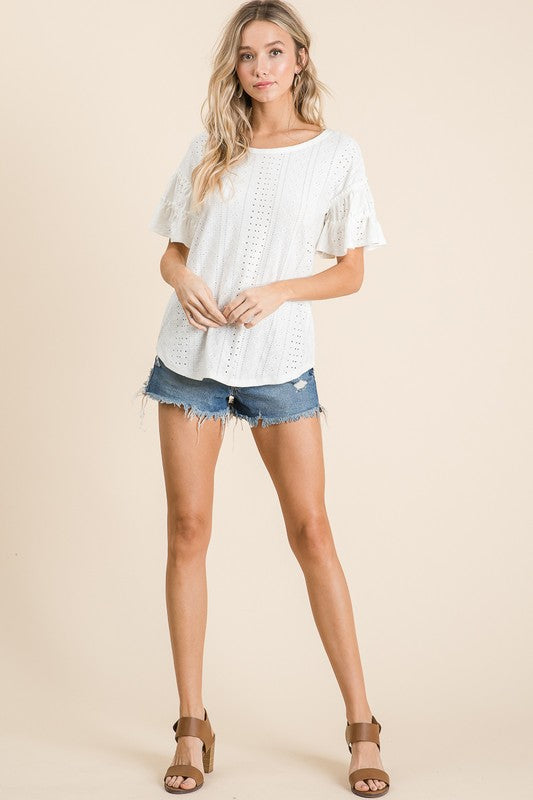 STRETCH-ABLE EYELET LACE TOP WITH TIERED SLEEVES. ivory boho pretty boutique