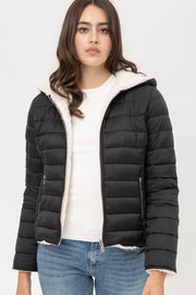 Sherpa Lined Fleece Reversible Puffer Coat
