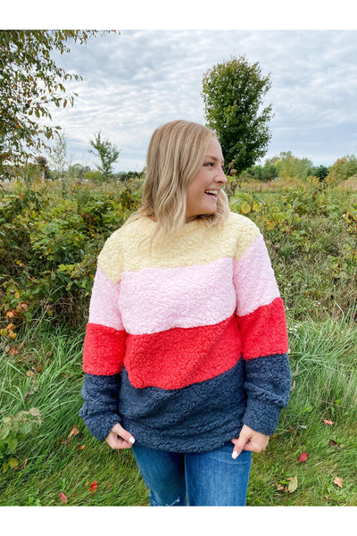 Sherpa pullover pink coral boho pretty boutique fall womens clothing