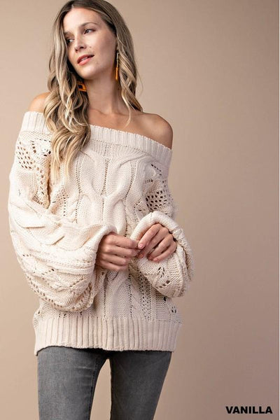Snow Bunny Sweater, Vanilla, Cable Knit, Puff Sleeves, Trendy, Boho Pretty