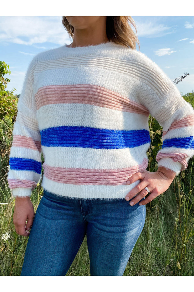 Soft Multi Color Stripe Knit Sweater Boho Pretty Boutique Online Women Shop Fall Winter Fashion2