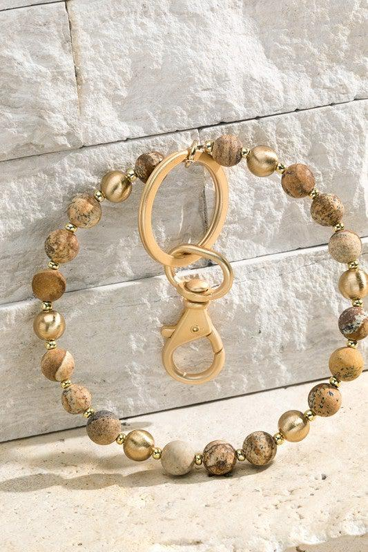 Stone with Beads Key Ring Chain Bracelet, Bangle, Bracelet, Key Chain, Brown, Jasper, .jpg