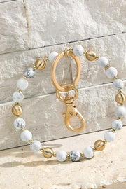 Stone with Beads Key Ring Chain Bracelet, Bangle, Bracelet, Key Chain, White, Howlite