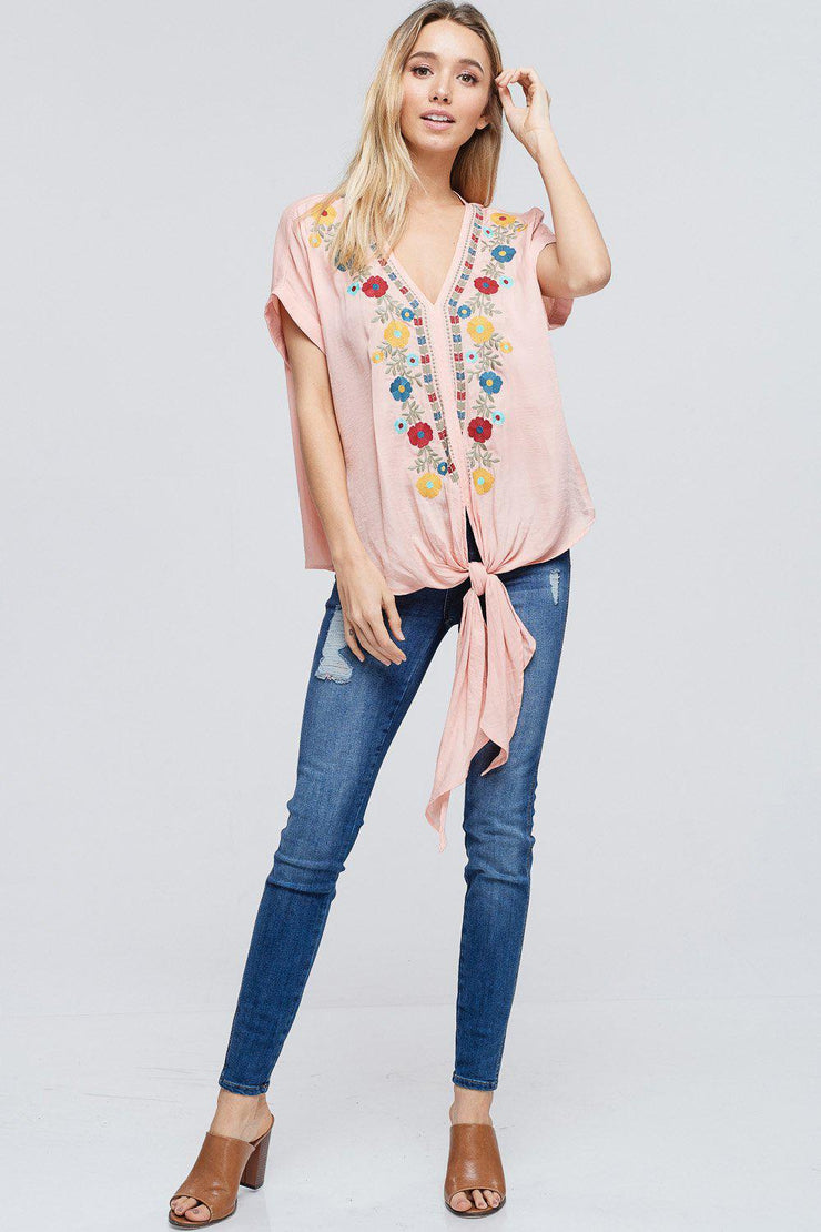 Floral Embroidered Short Sleeve Top With Front Self-Tie
