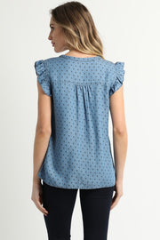 Tencel Floral Printed Baby Ruffle Top
