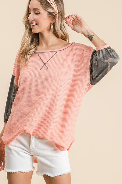 HERMAL WAFFLE TOP WITH CAMOUFLAGE PUFF SLEEVES AND BACK YOKE boho pretty boutique bibi
