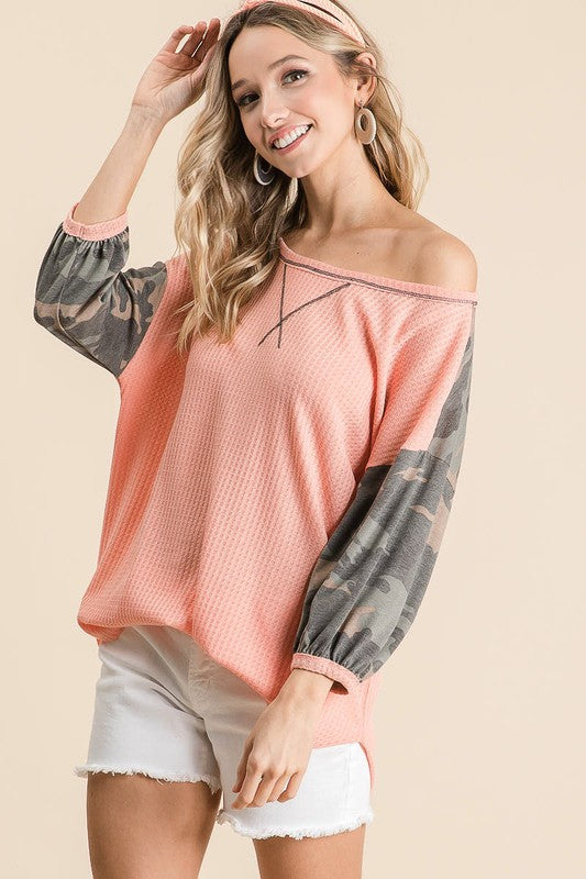 Blushing In Camo Top