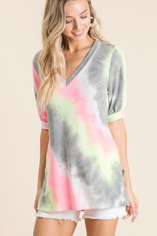 TIE DYE PRINT TERRY V NECK TOP WITH PUFF SLEEVES boho pretty boutique bibi