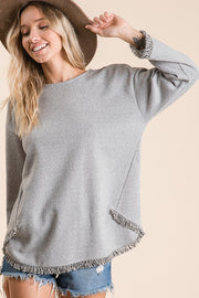 Two Tone Fabric Casual Top, Long Sleeve Round Neckline, Drop Shoulder, Side Crossover Design, Fringe Bottom