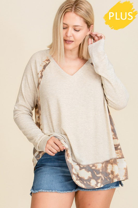 Two tone fabric and paisley print mix and match boxy top plus size, Features long sleeve, V-neckline, tie dye print fabric knit contrast detail, comfortable fit. boho pretty online womens boutique fall clothing