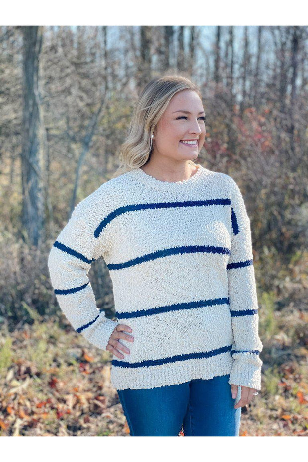 navy stripe cream popcorn sweater boho pretty online mobile winter fall fashion boutique womens clothing24