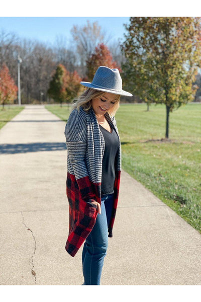 buffalo check stripe cardigan fall winter online mobile womens boutique clothing boho pretty