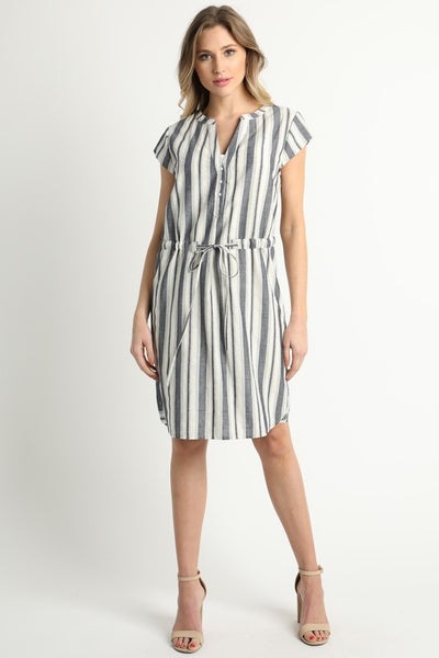V-Neck Button Down Waist String Dress