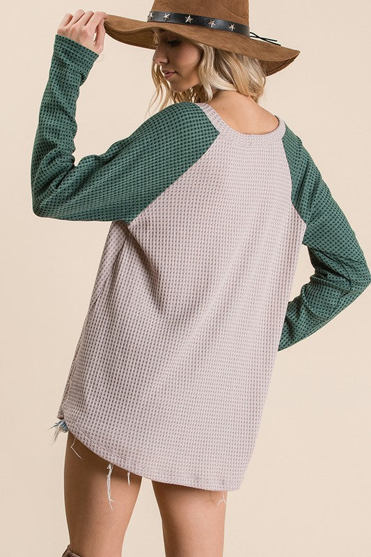 Waffle knit color block raglan top, Features long sleeve, boat neck,  chevron design pattern matched with lace trim detail. boho pretty boutique