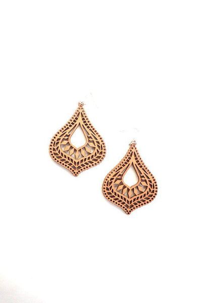 Wood Teardrop Earring