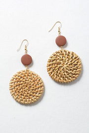 Join the Wicker Trend with these earrings!  Lightweight, beautiful, all natural. Color may slightly vary due to the handmade nature of the earrings.
