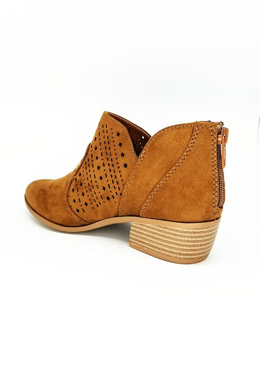 Perfect bootie for your everyday Fall look . Almond Shape Toe. Laser Cut Bootie.