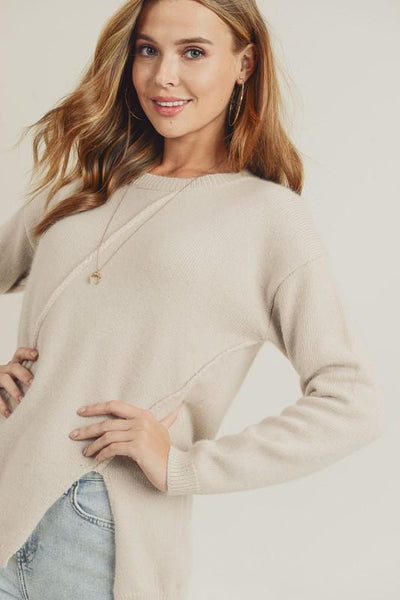 Asymmetric side detail sweater top
