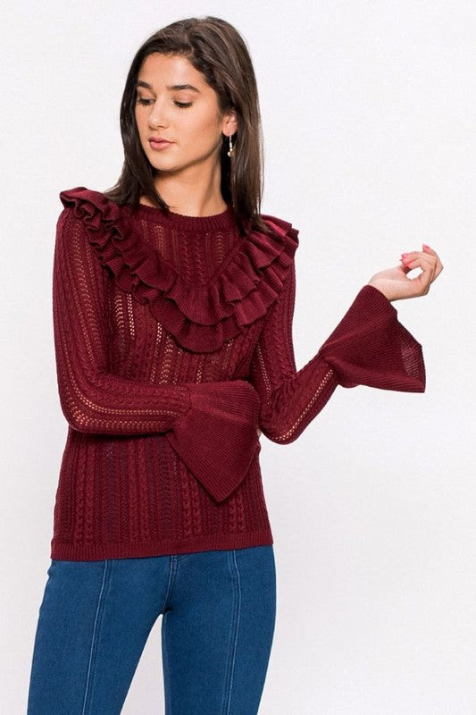 bell sleeves, top, holiday attire, burgundy, sweater, boho pretty, womens fashion